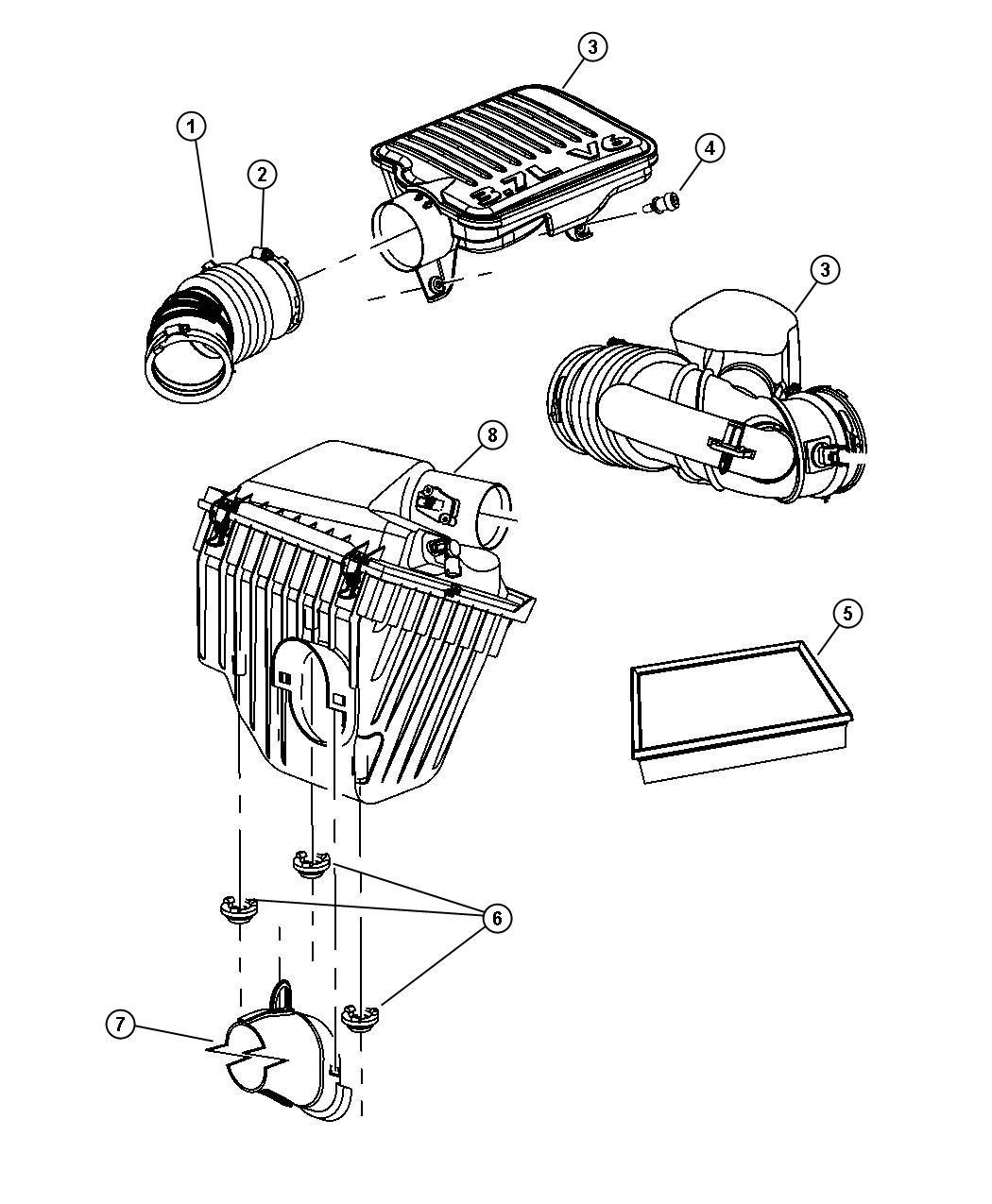 2007 Dodge NITRO Air cleaner. Ventilation, crankcase, egs