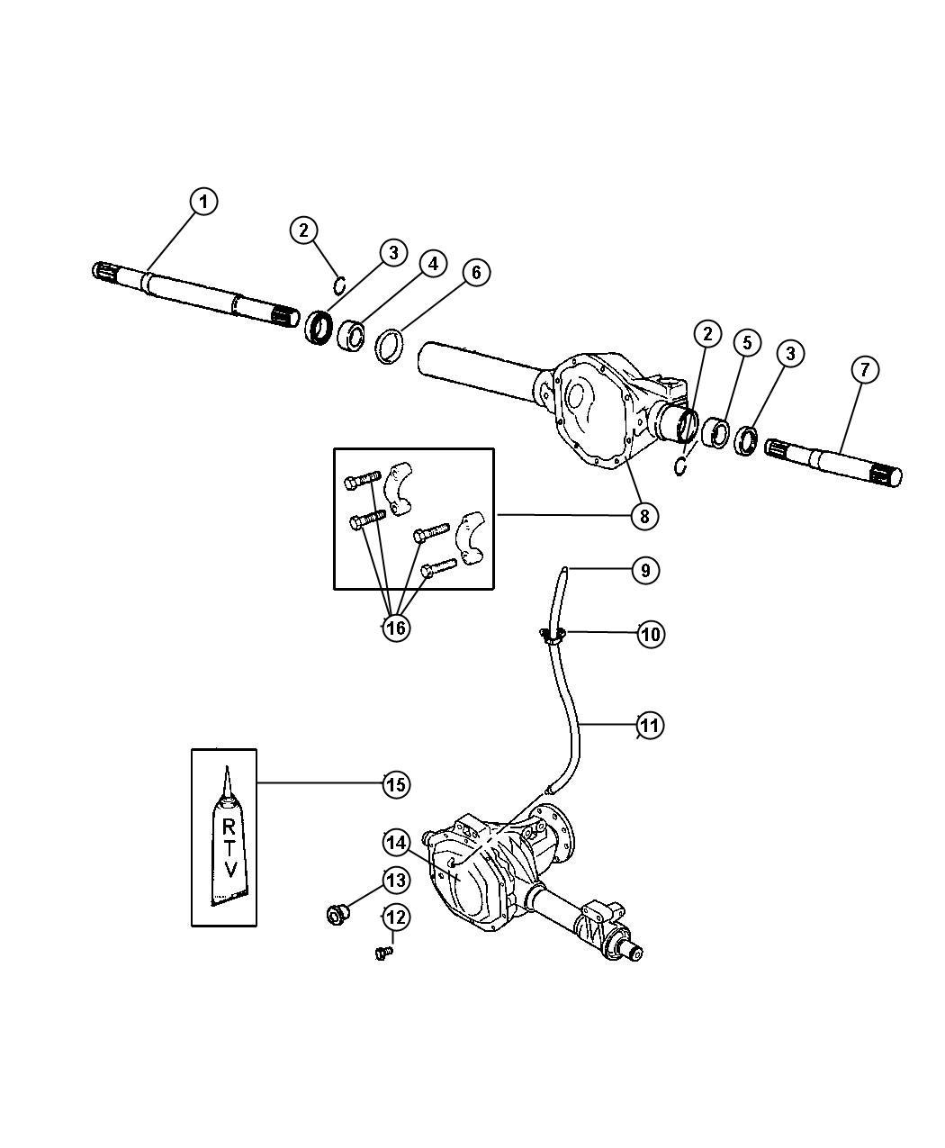 Dodge Dakota Clip. Vent tube. Mounting. Front axle vent