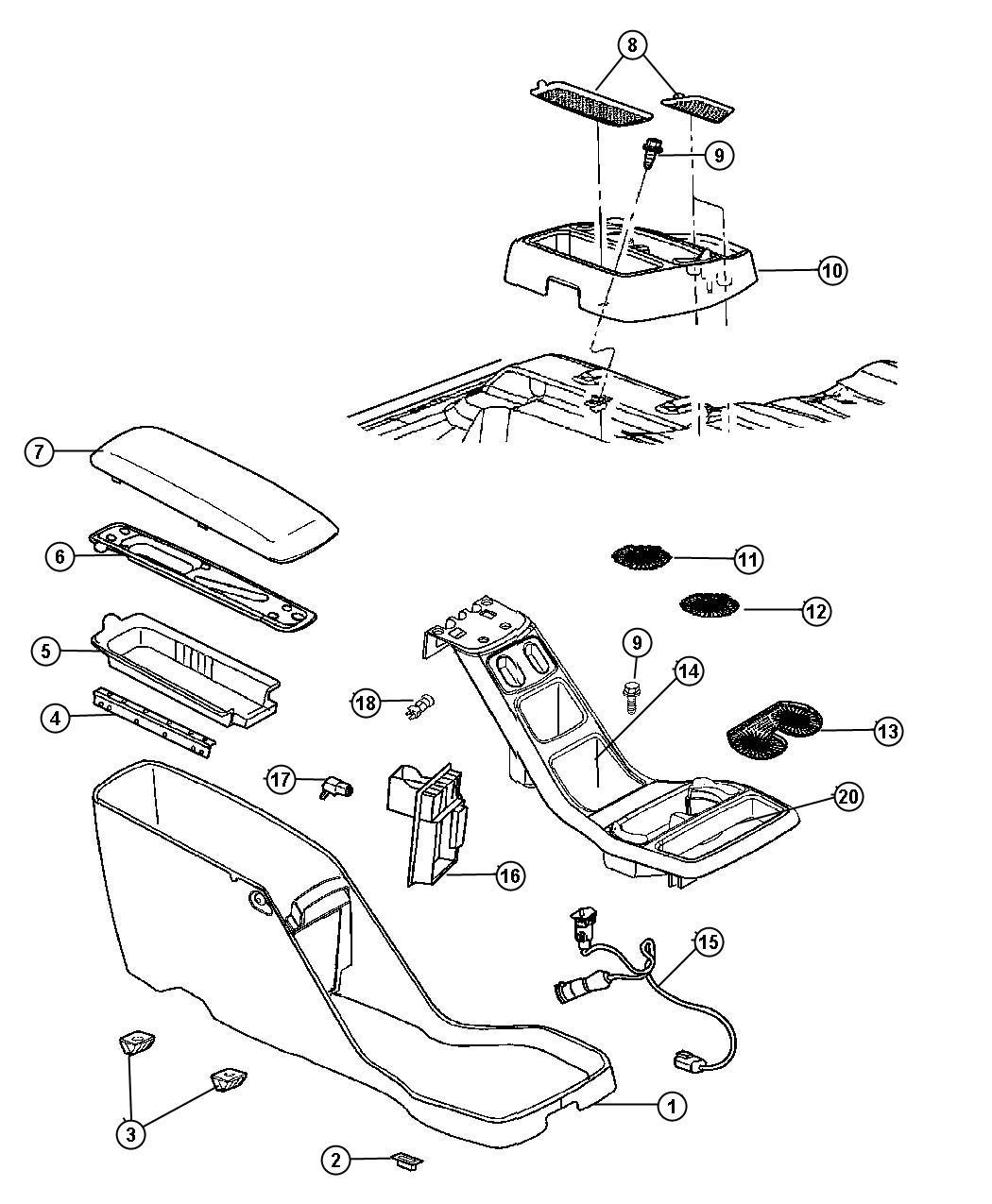 2007 Dodge Dakota Hinge. Armrest pad. Trim: [all trim