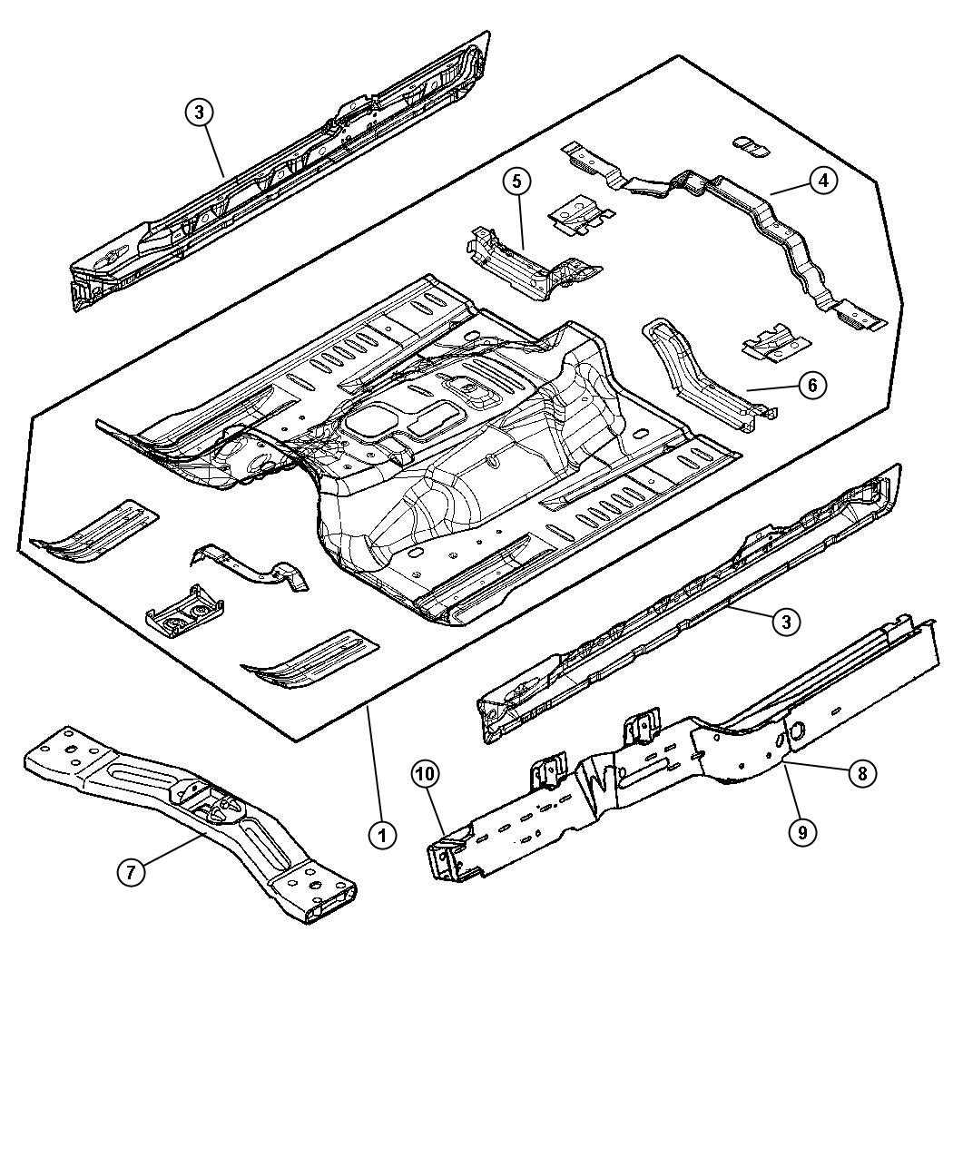 Jeep Liberty Crossmember Front Seat Retention Right