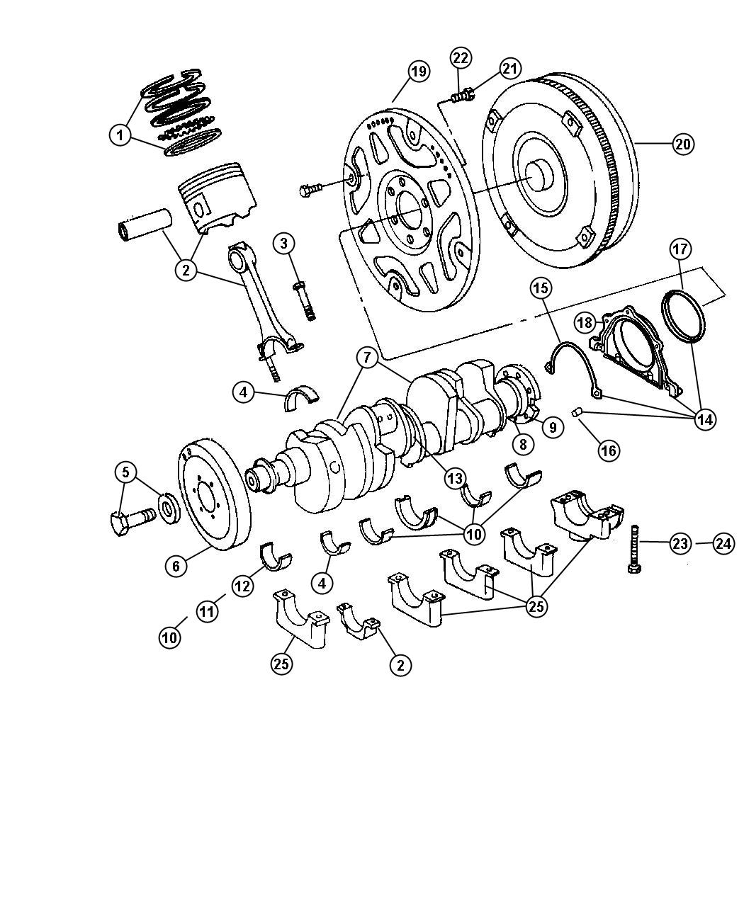 Dodge Durango Bearing kit, bearing package. Connecting rod