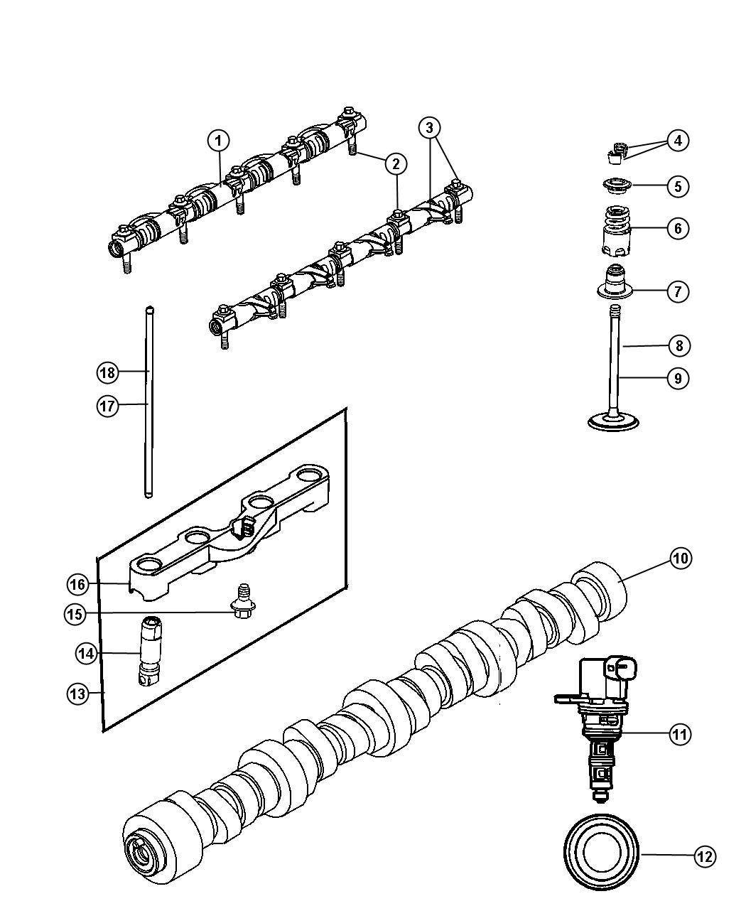 Dodge Ram 1500 Yoke. Tappet aligning. Rear. [49], [engine