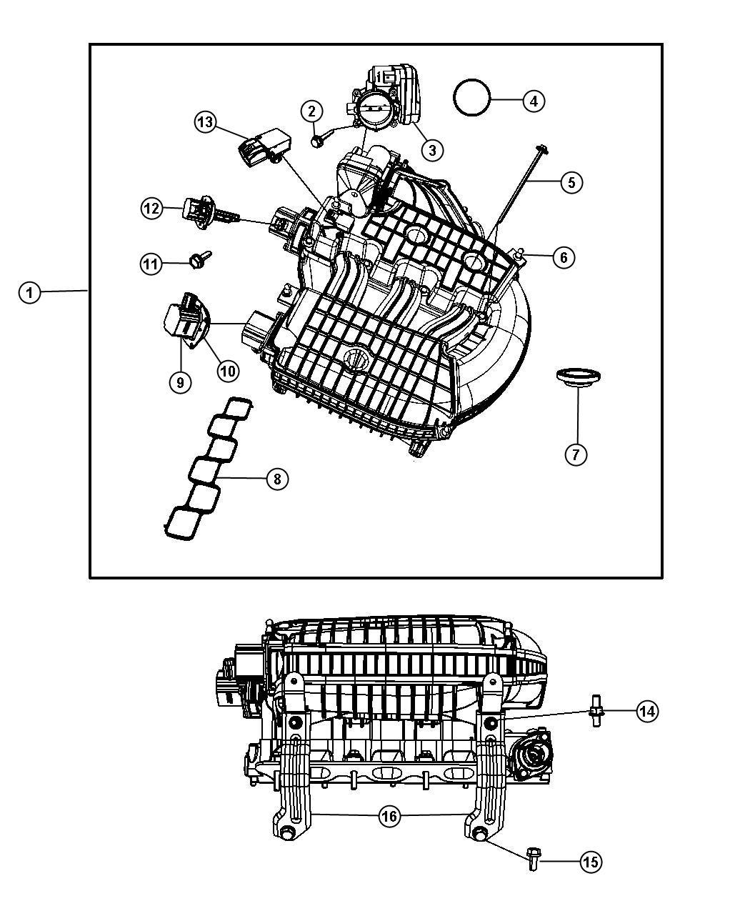 Dodge NITRO Plenum. Intake manifold. Engine, upper, sohc