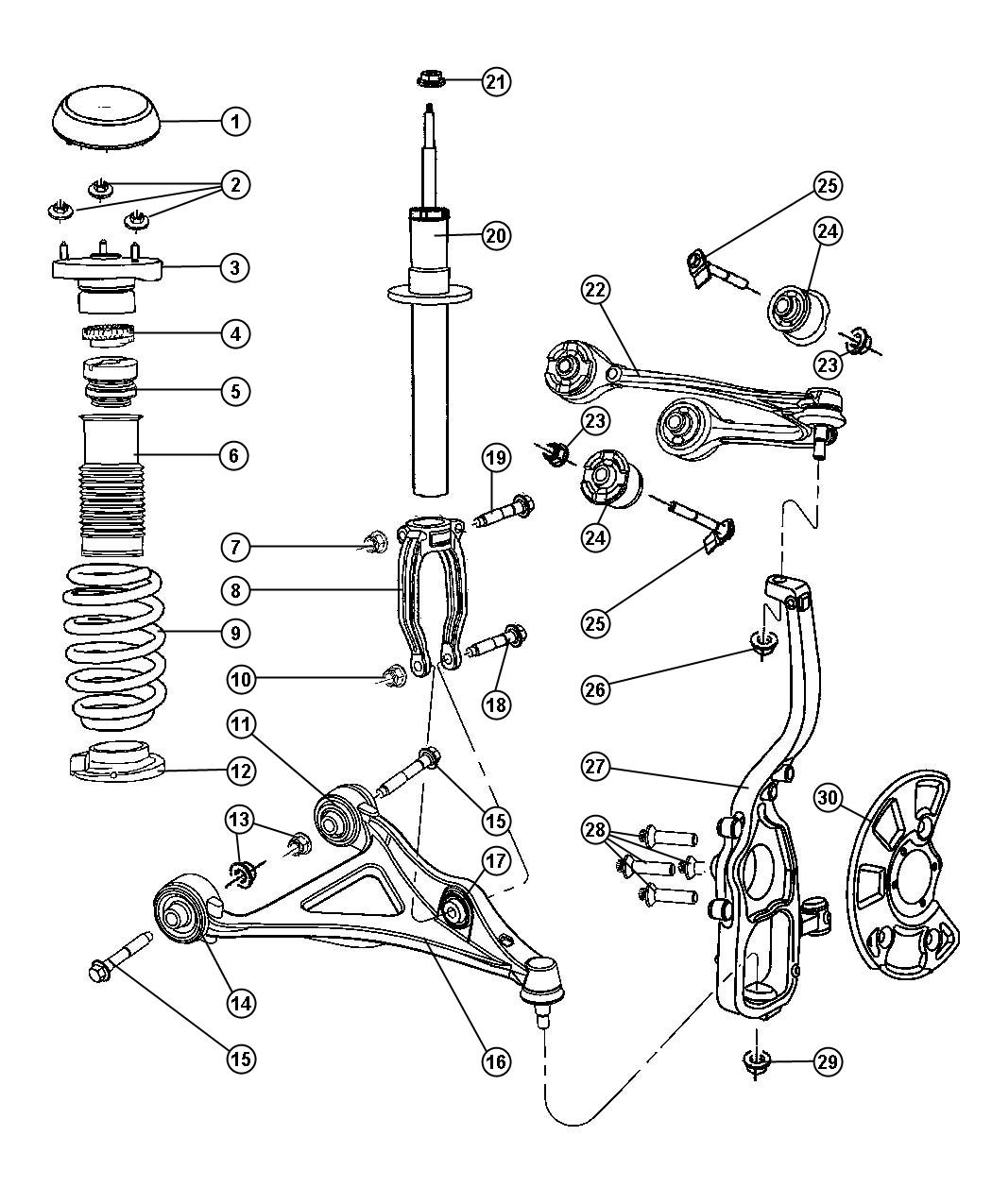 2005 Chrysler 300 Clevis. Front. Right. Suspension, spring