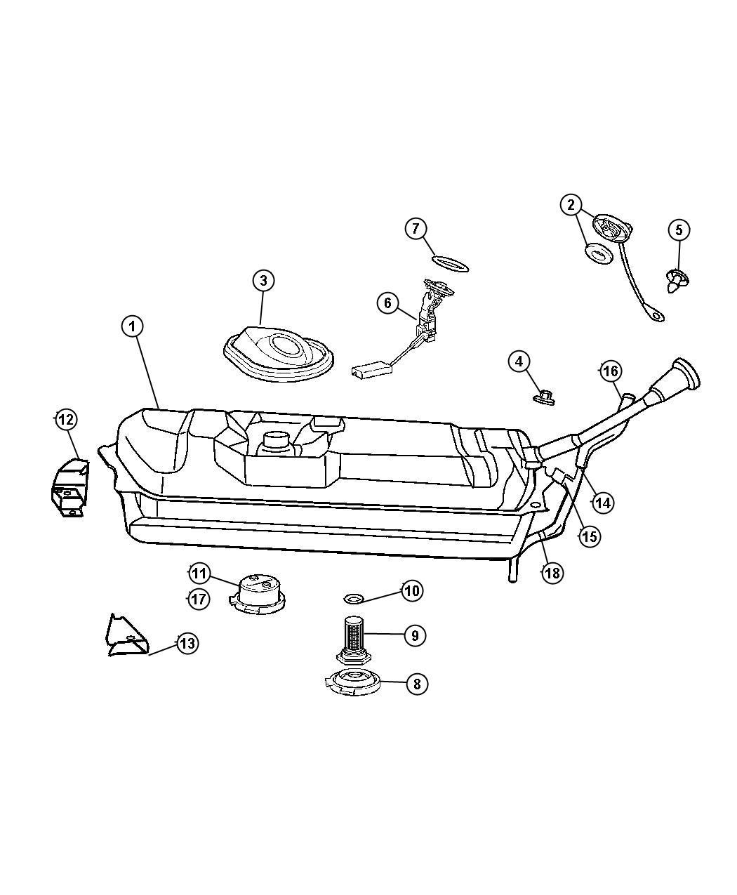 Chrysler Crossfire Housing Fuel Filler Tube Tank