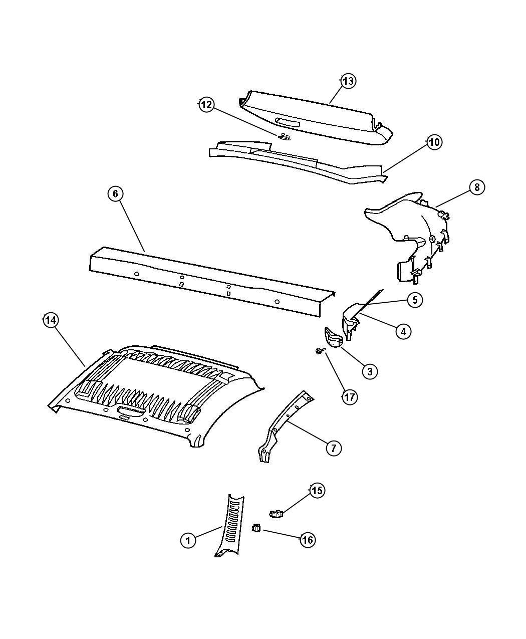 Chrysler Crossfire Panel. Deck opening. [dd], [dr], [dv