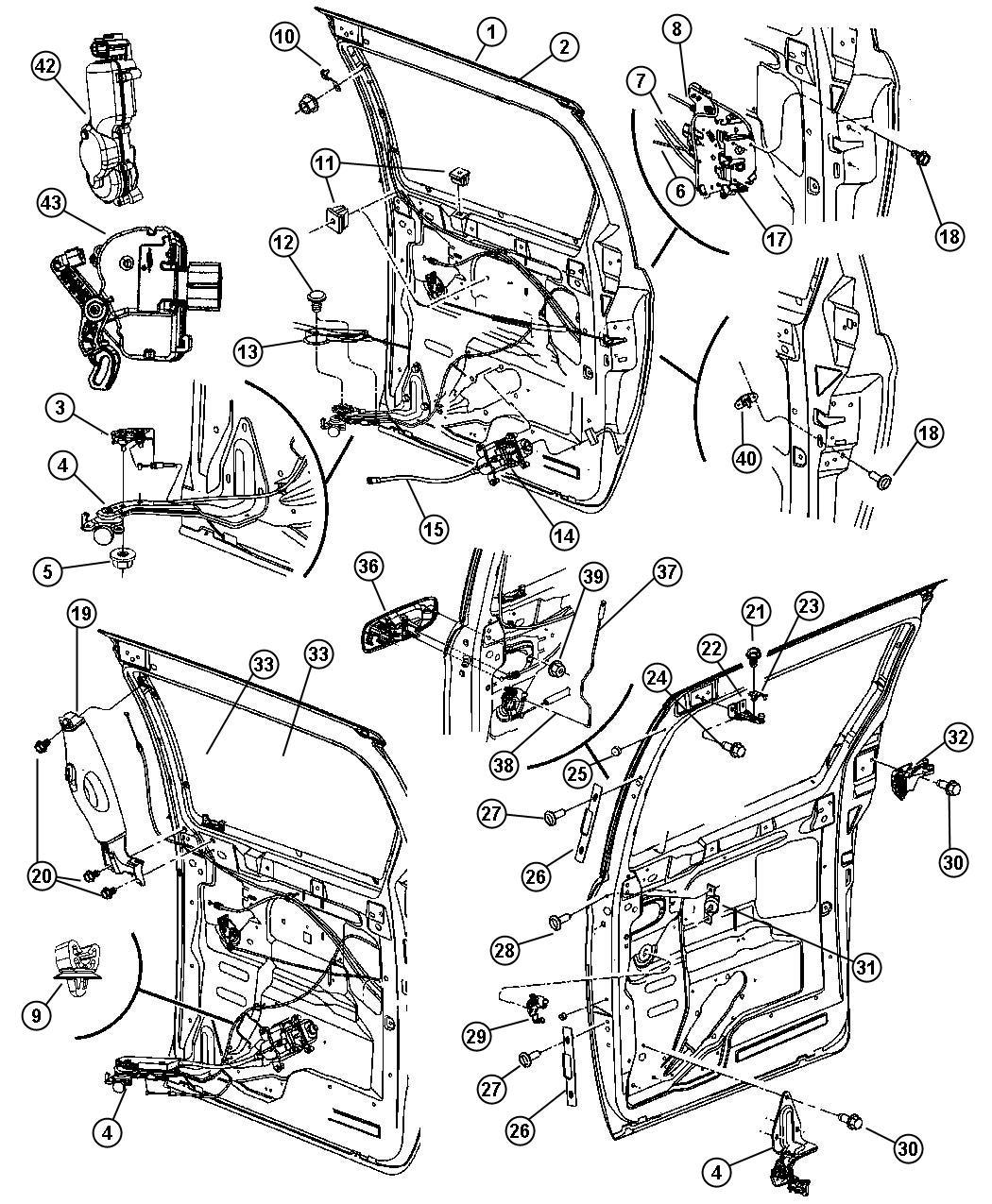 2003 Chrysler Voyager Actuator. Power cinch. Right. [door