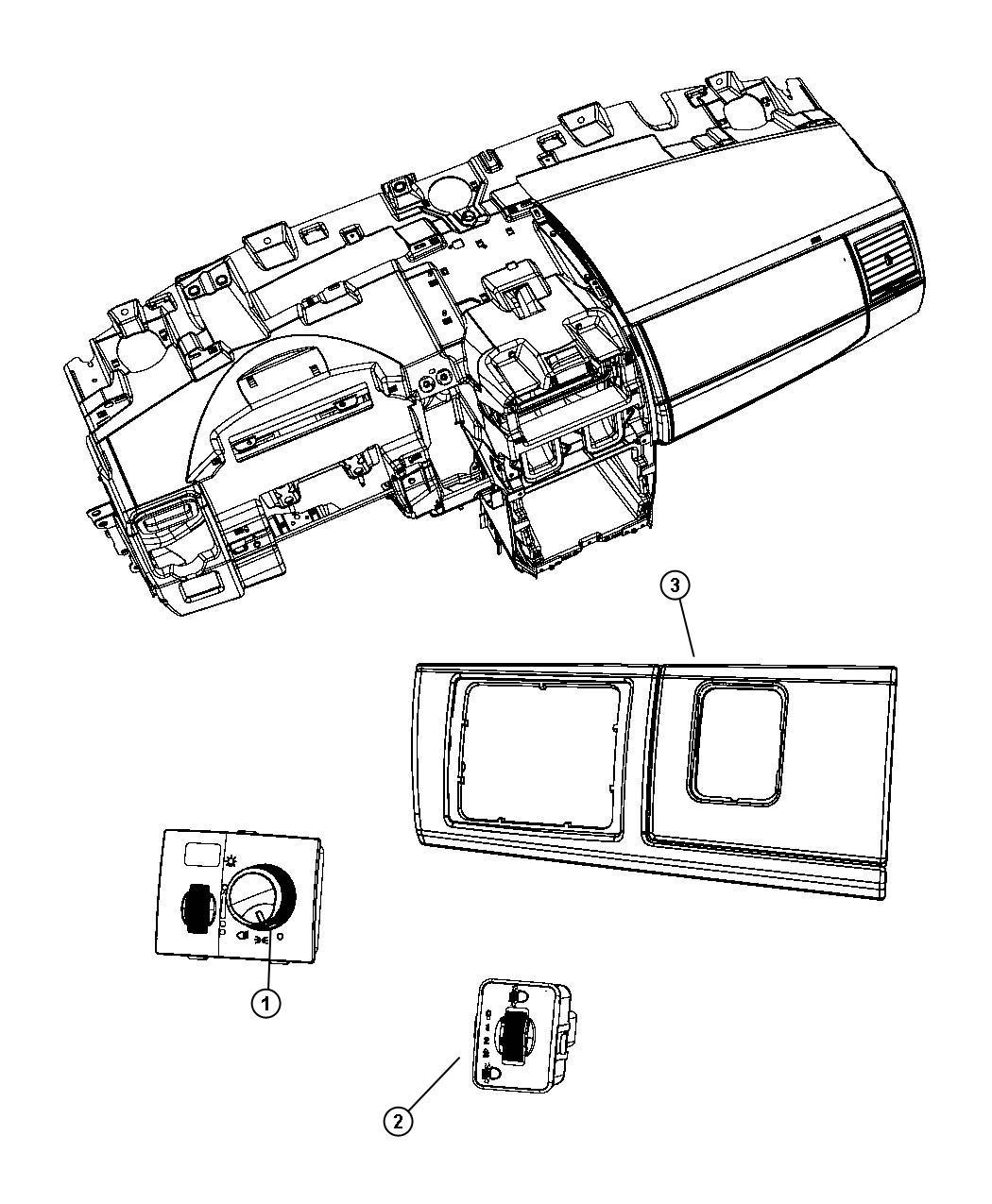 Dodge Grand Caravan Bezel. Headlamp switch. Instrument
