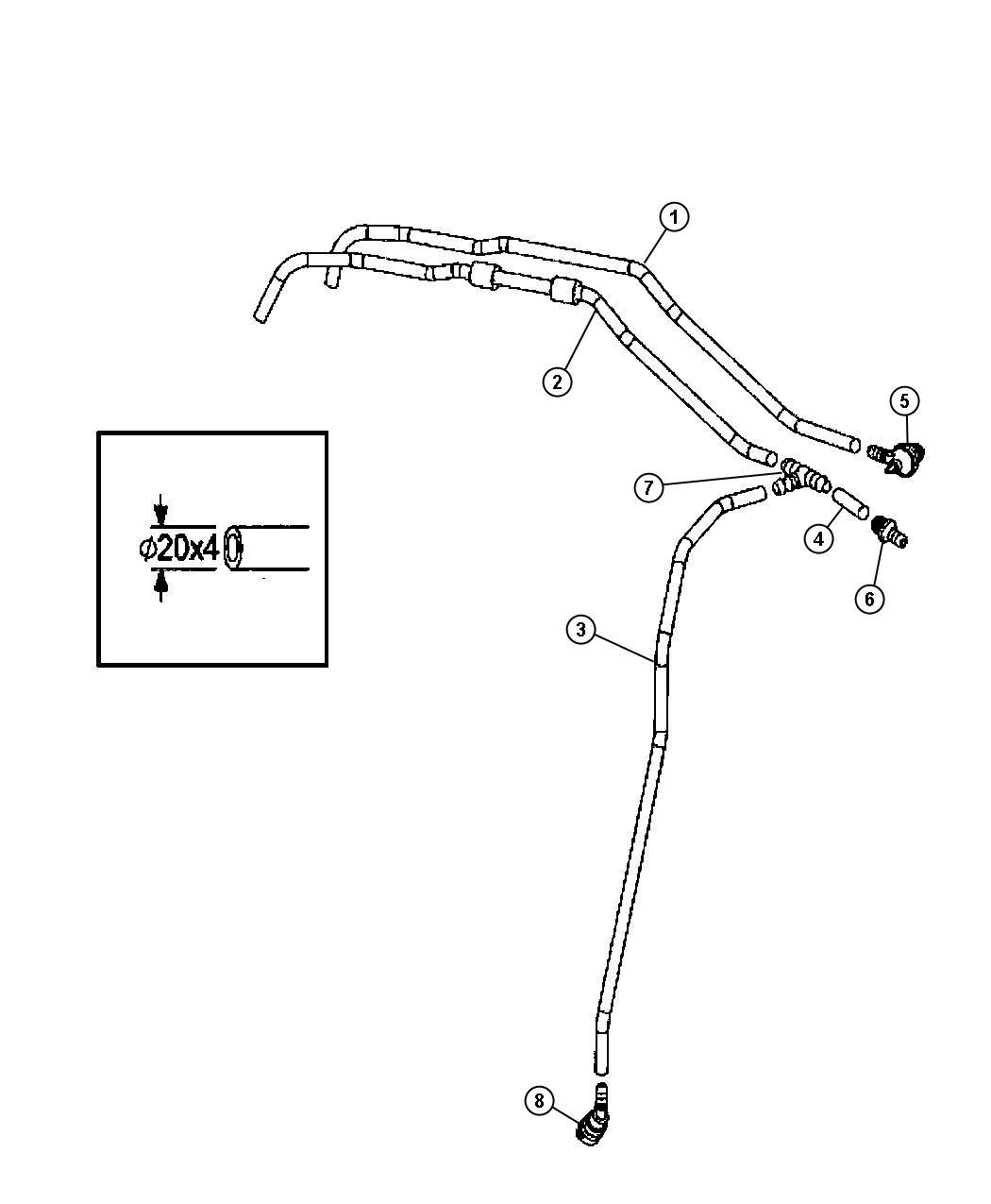 2007 Dodge SPRINTER 3500 Hose. Vacuum. [3.5l v6 gas engine