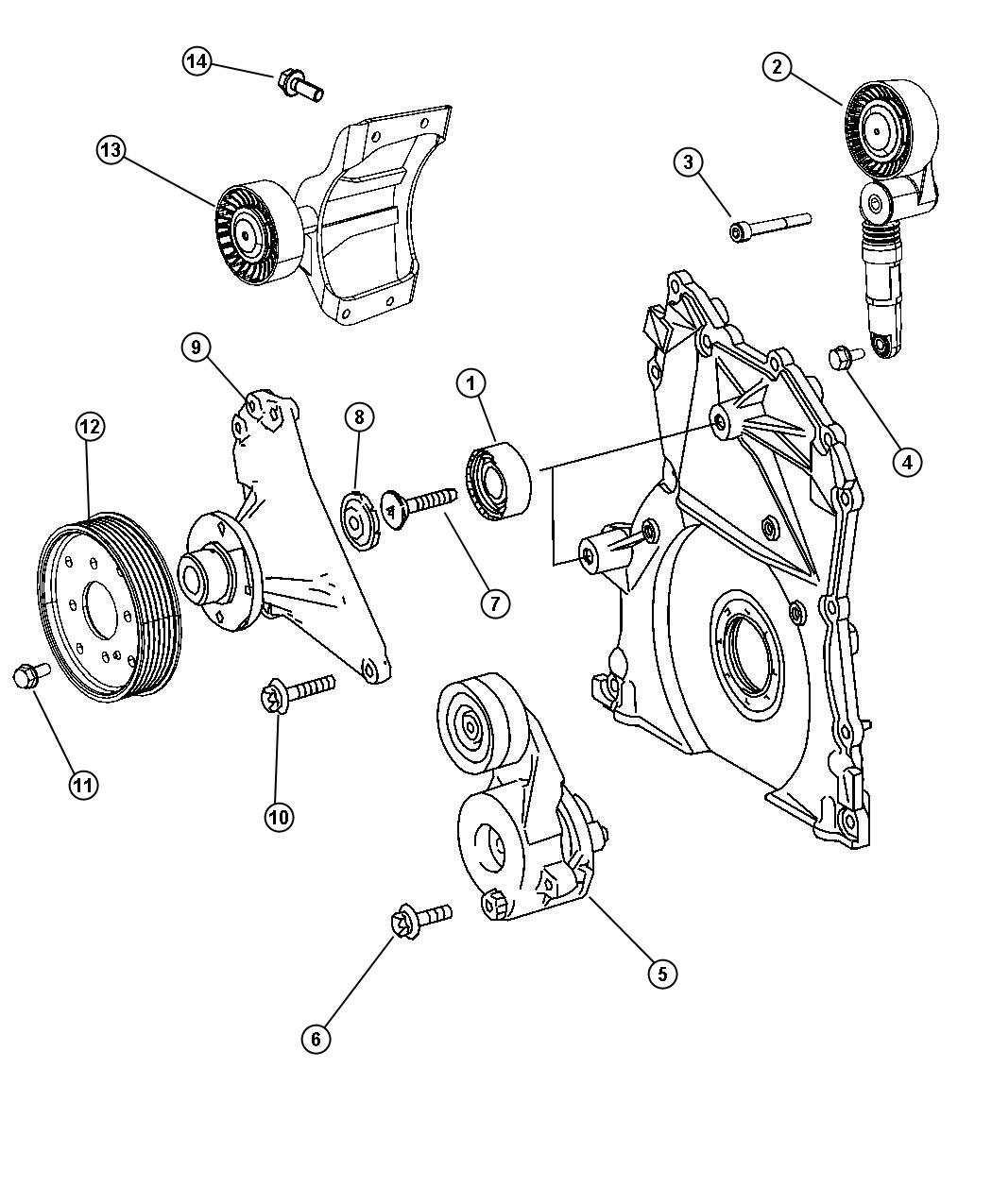 2009 Dodge Sprinter 2500 Pulley. Tensioner. With [rear