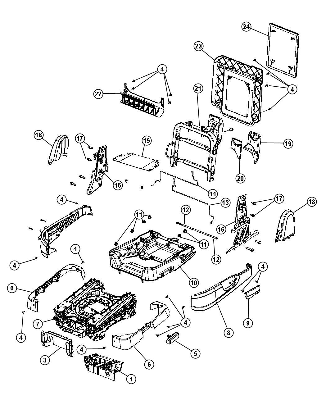 Dodge Grand Caravan Bracket. Seat. Without [heated second