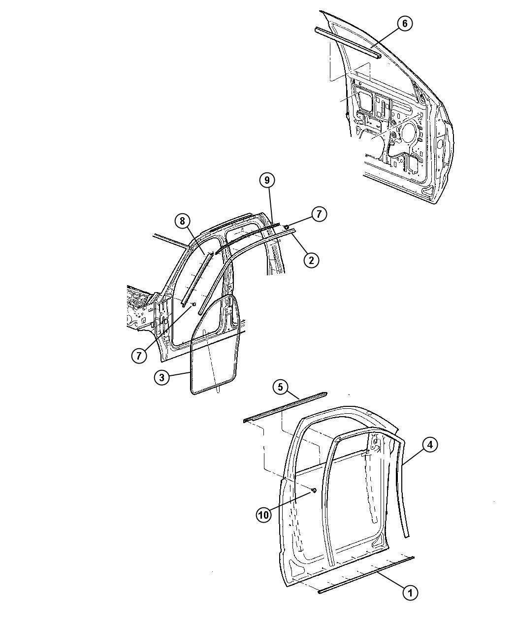 2008 Dodge Ram 3500 Weatherstrip. Door belt. Right