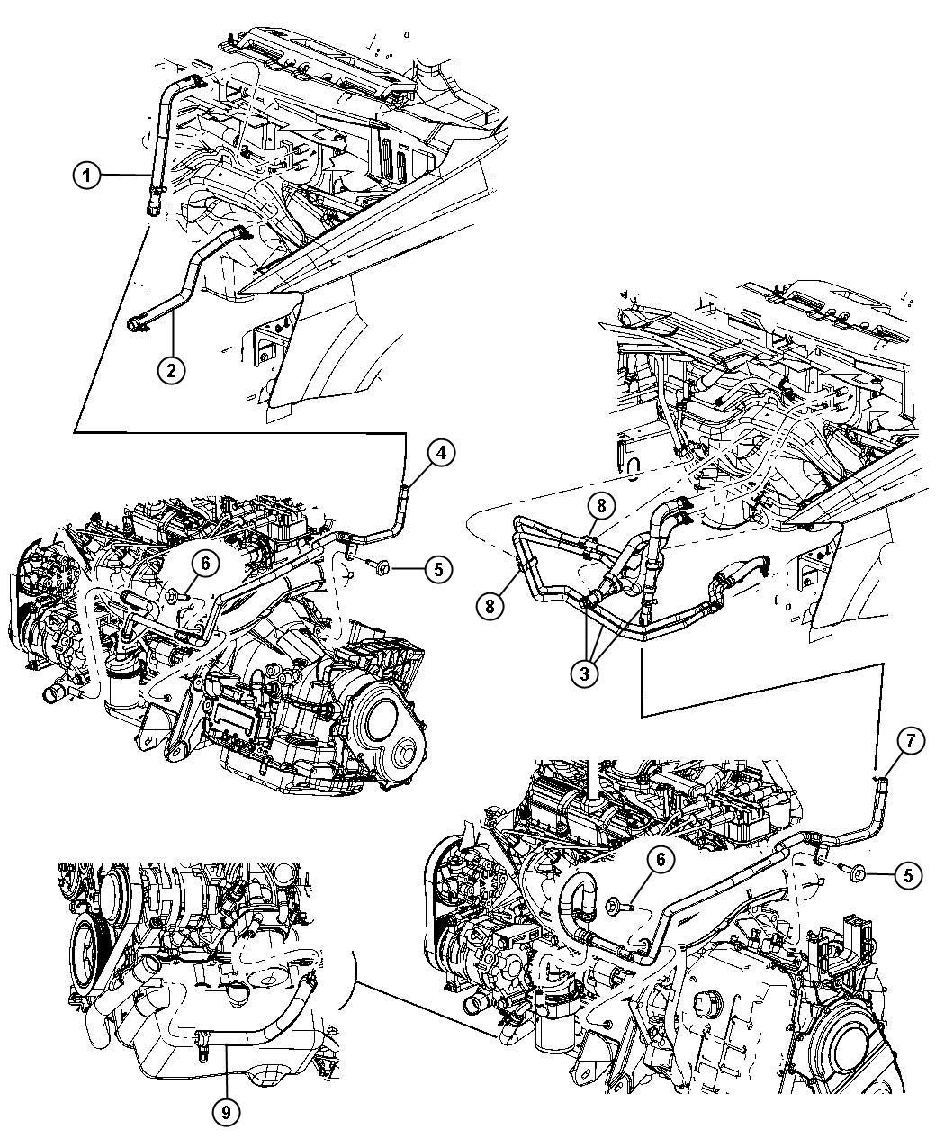 Dodge Grand Caravan Used for: HOSE AND TUBE. Heater Return