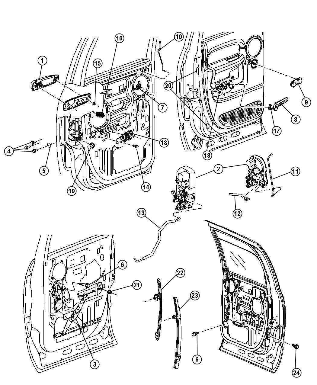 Dodge Ram 3500 Latch. Rear door. Locks, manual, power