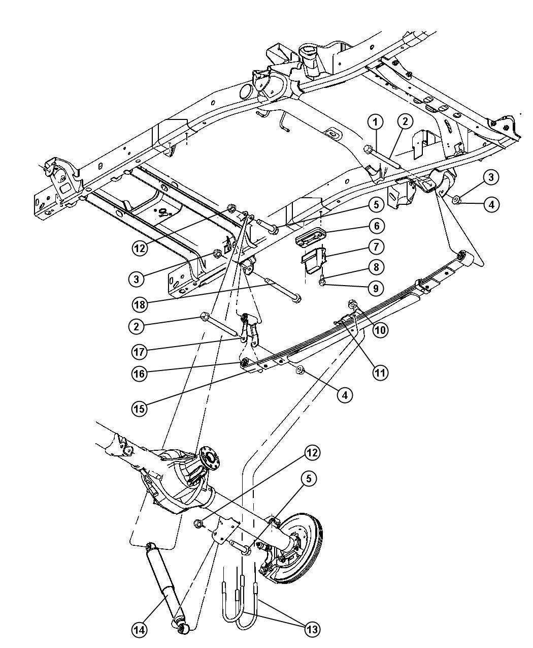2008 Dodge Ram 2500 Shock absorber. Suspension. Rear