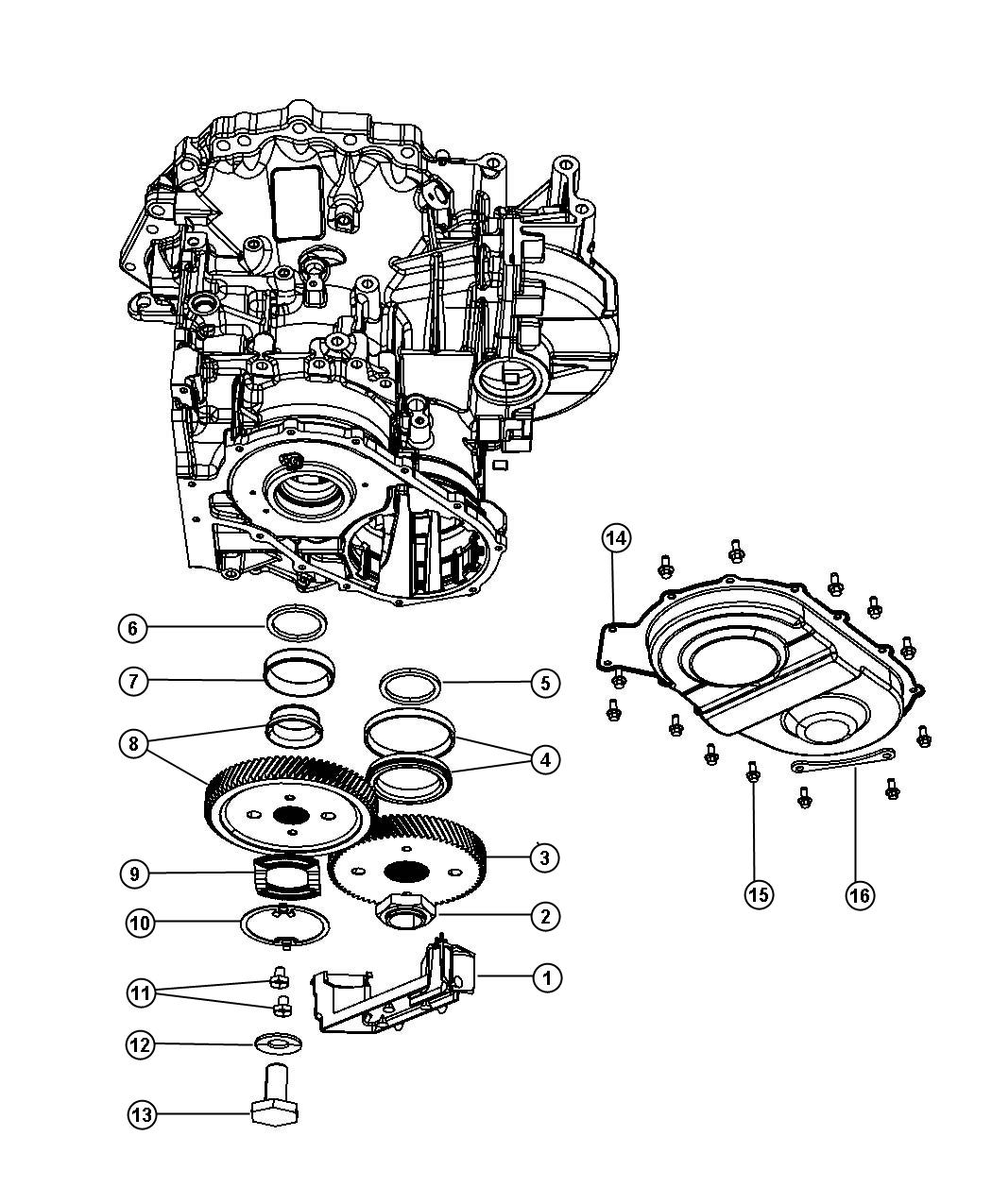 Chrysler Pacifica Output gear. 74 tooth. Top, ratio