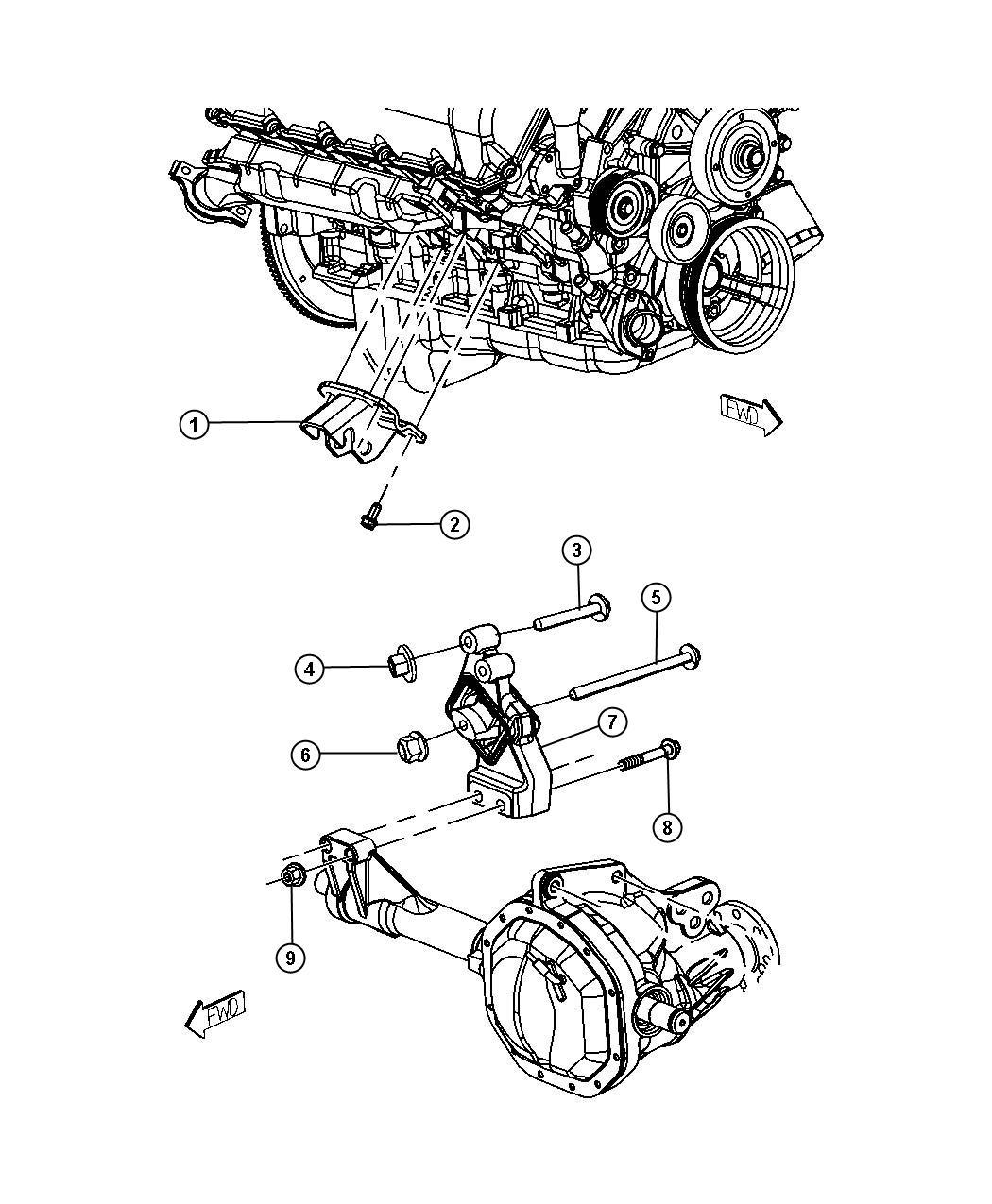 2008 Dodge Ram 1500 Insulator. Engine mount. Mounting