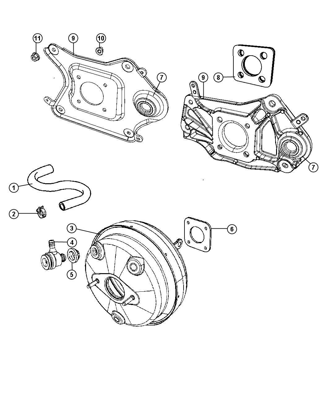 2008 Dodge NITRO Booster. Power brake. Maintenance, vacuum