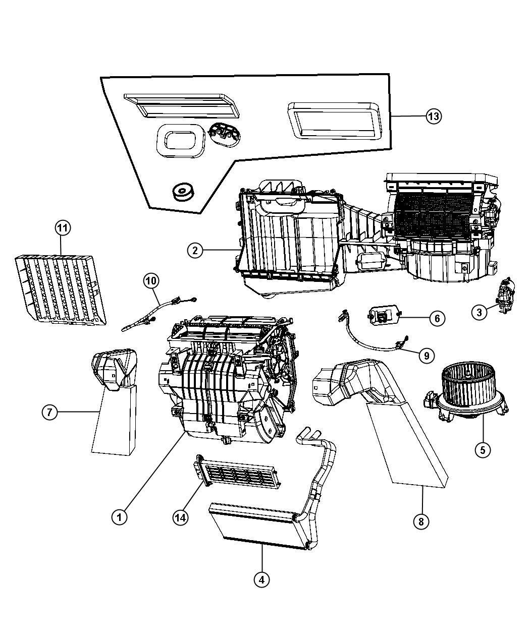 2007 Jeep Wrangler Housing. Blower motor. Heater