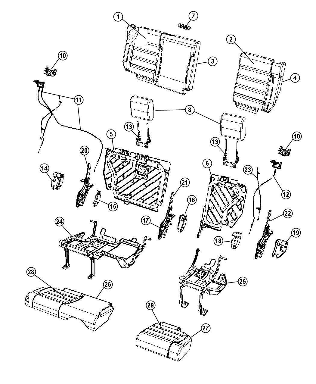 Jeep Wrangler Bezel. Headrest base. [dd]. Trim: (*e5
