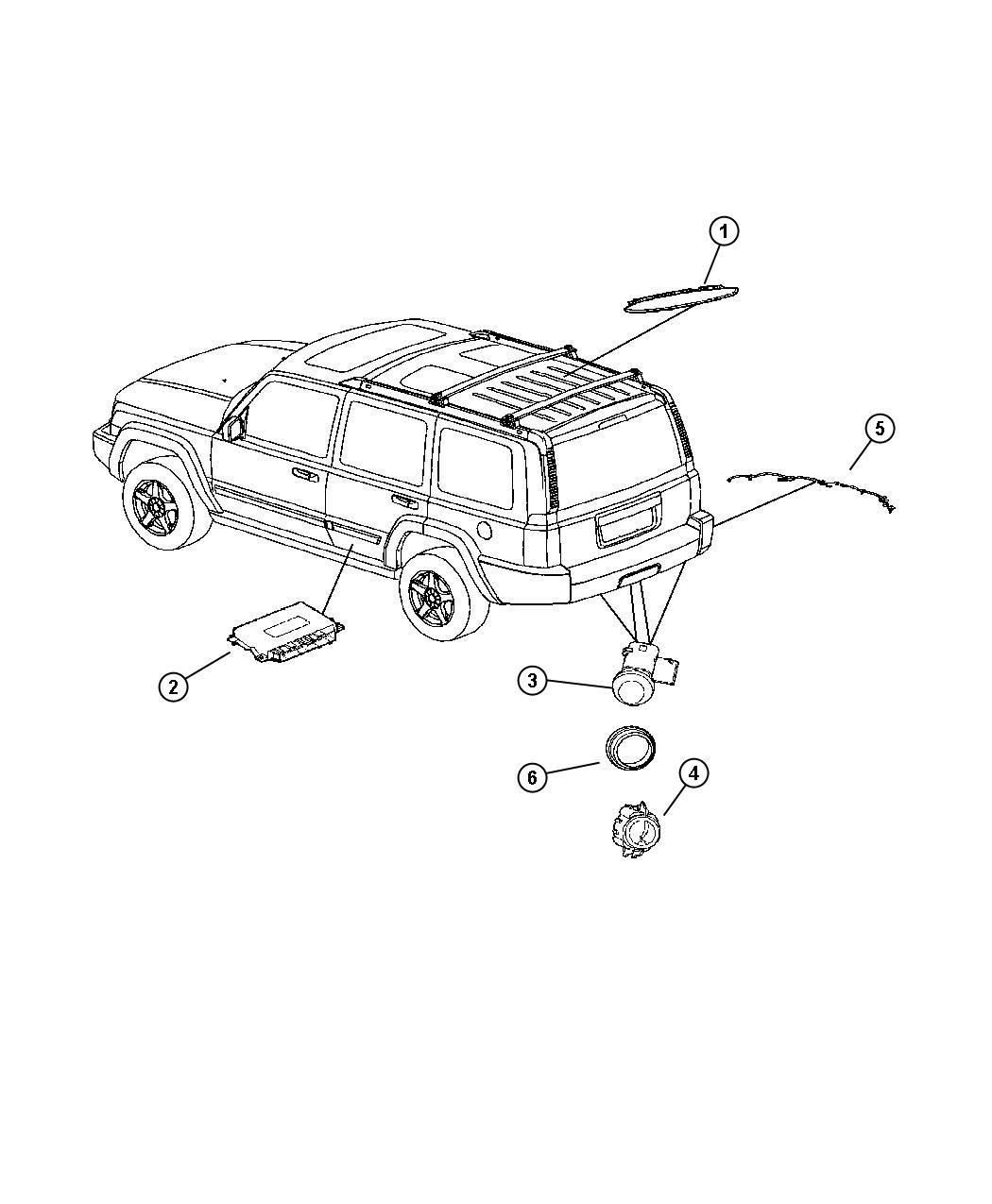 Jeep Commander Harness, wiring. Rear fascia, sensor wiring