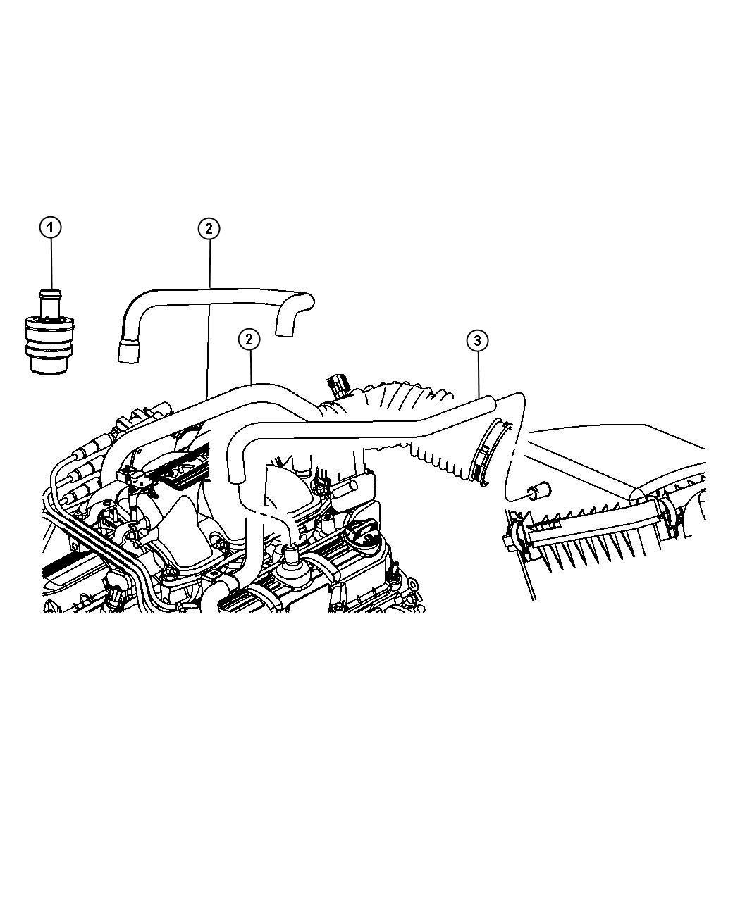 2007 Jeep Wrangler Hose. Pcv, pcv tube. Pcv valve to
