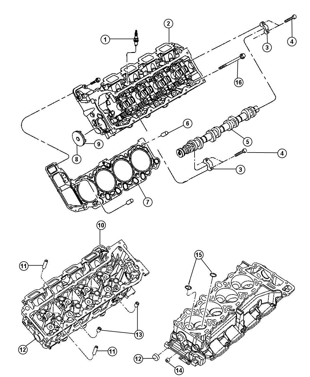 Dodge Durango Camshaft. Engine. Right, right side. Crew
