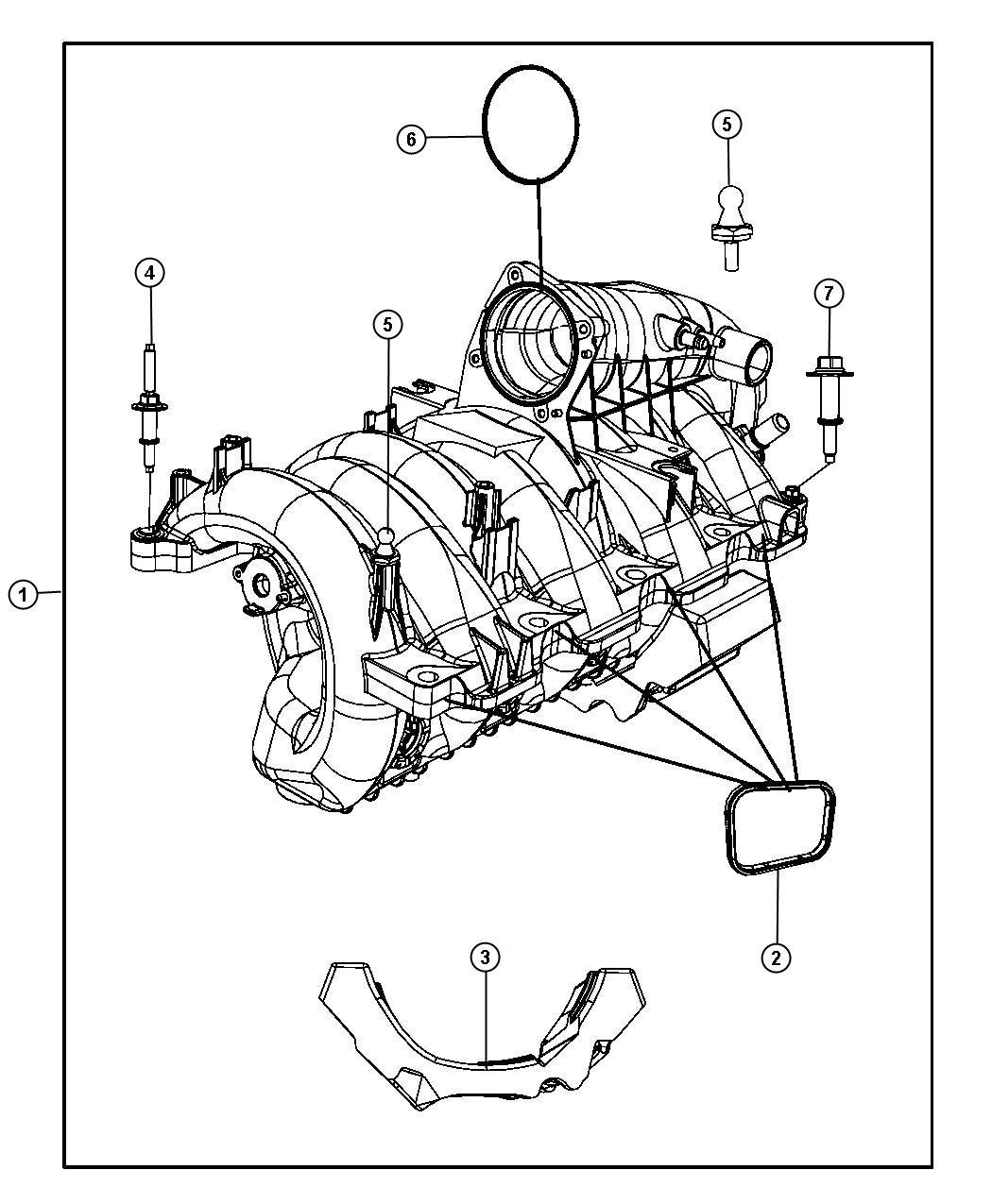 Dodge Durango Seal. Intake manifold. Crew cab. Eve, engine