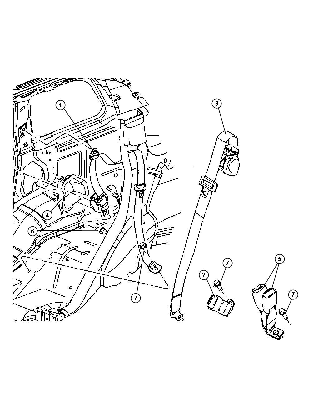 2008 Jeep Commander Seat belt. Rear outer. Left. Trim