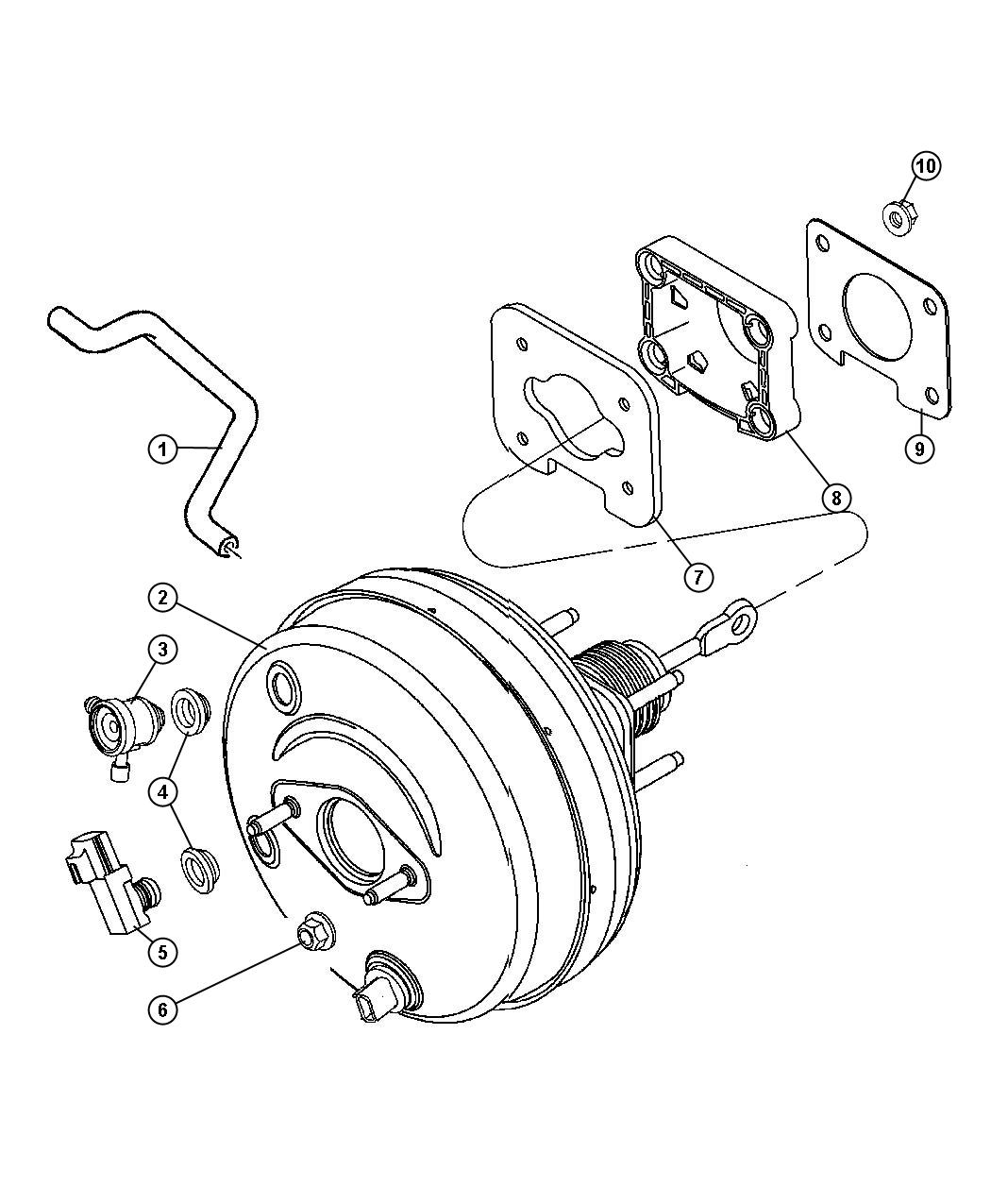 2007 Dodge Durango Booster. Power brake. Brakes, anti