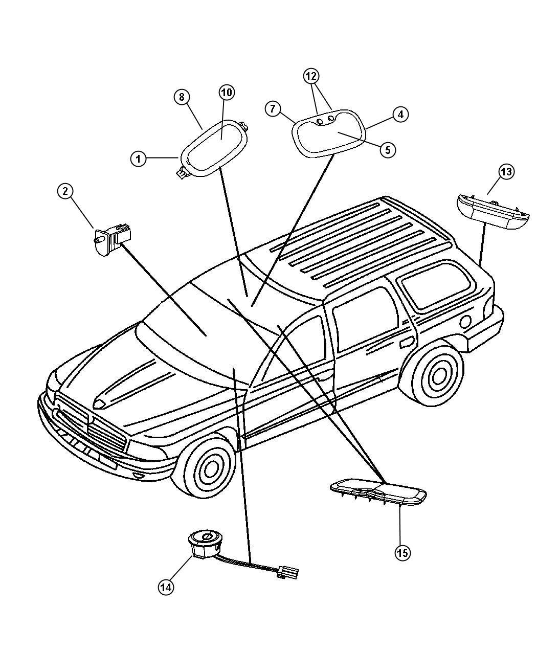 2008 Dodge Durango Lamp. Reading. [overhead console], led