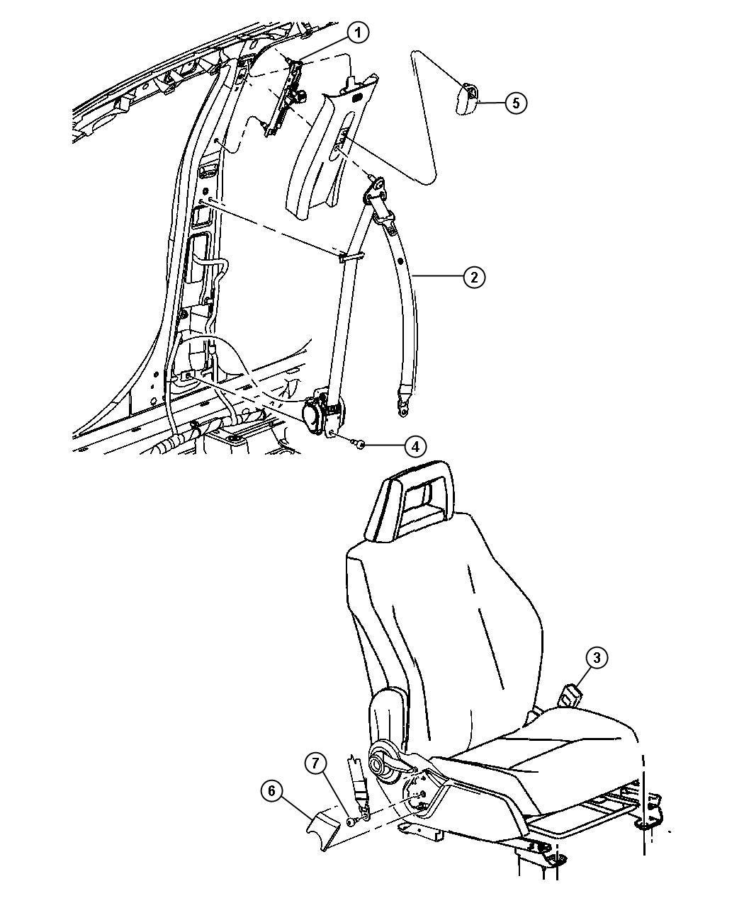 Jeep Patriot Seat belt. Front inner. Left. Export. [ka