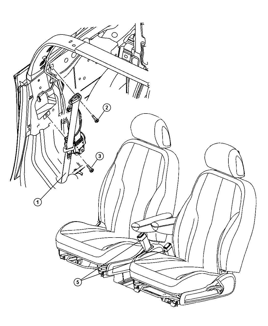 Chrysler PT Cruiser Seat belt. Front inner. Right. Trim
