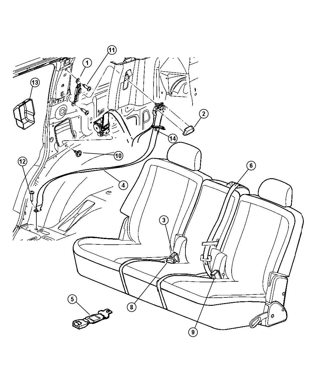 Dodge Durango Seat belt. Rear outer. Left. [db]. Trim