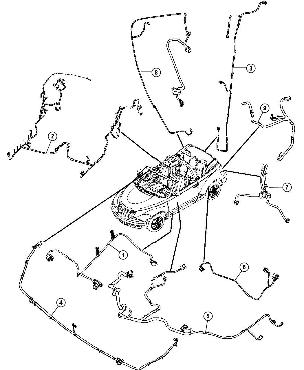 Chrysler PT Cruiser Wiring. Deck lid. [speed sensitive