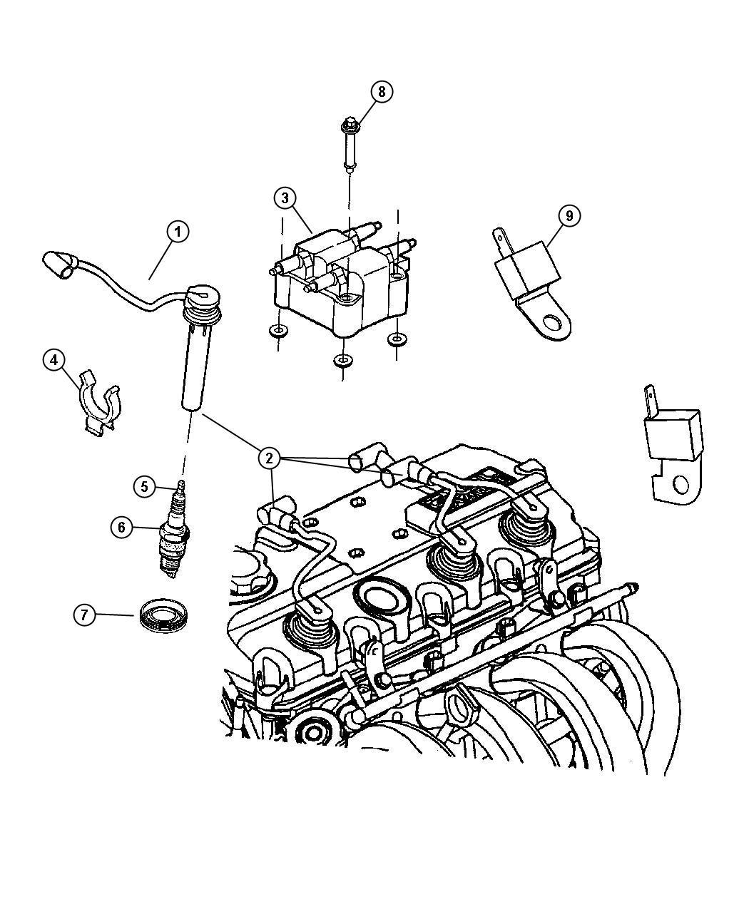 2008 Chrysler PT Cruiser Spark plug. Up to 11/27/03. Plugs