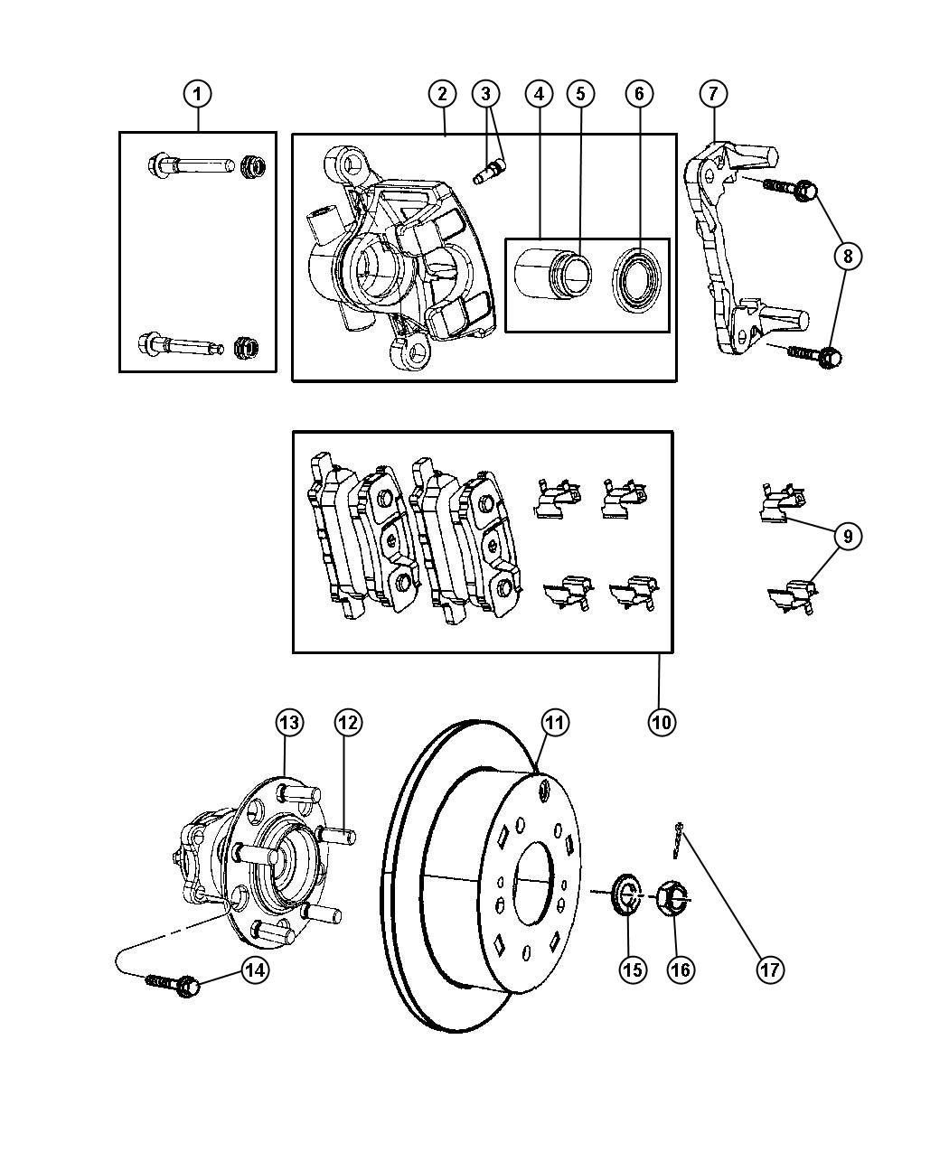 2008 Jeep Compass Pin kit. Disc brake. Right or left