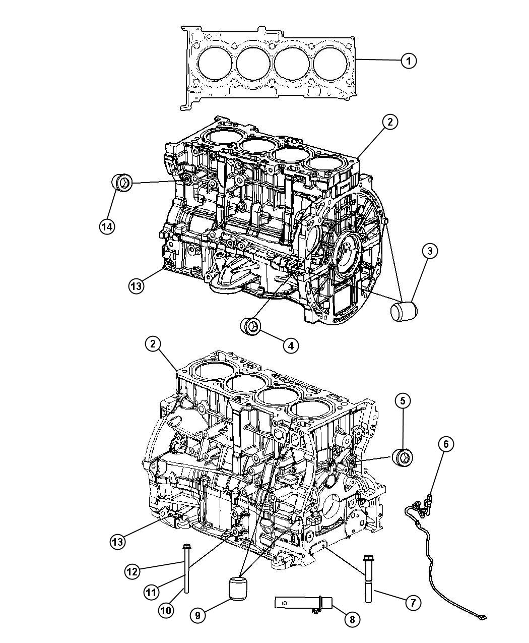 Jeep Compass Engine. Long block. [engine oil cooler