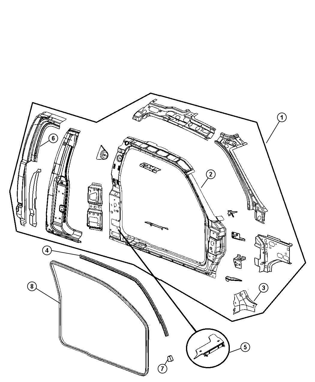 Dodge Dakota Panel. Body side aperture. Right. Interior