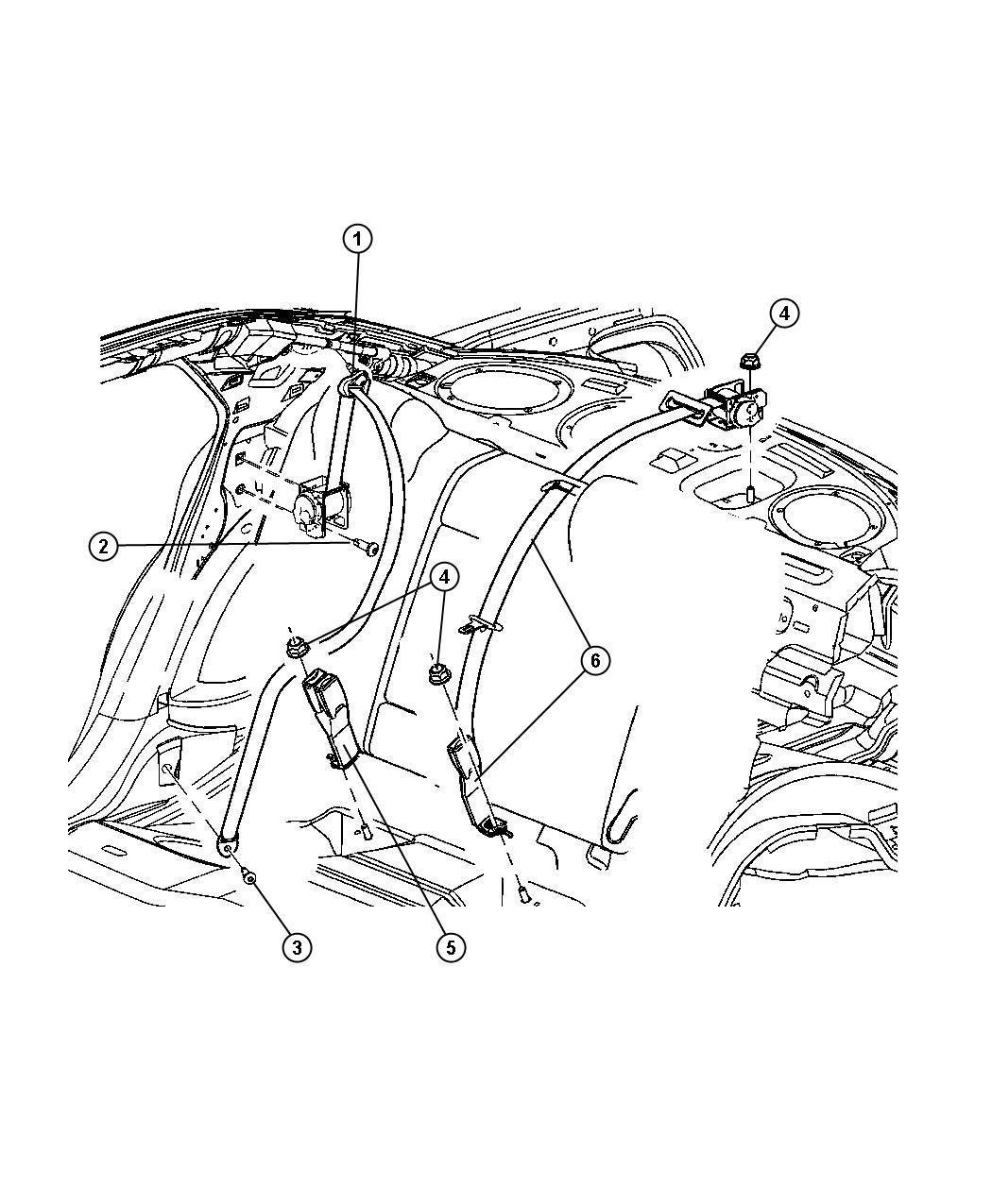 Dodge Charger Seat Belt Rear Center Shoulder J1 All