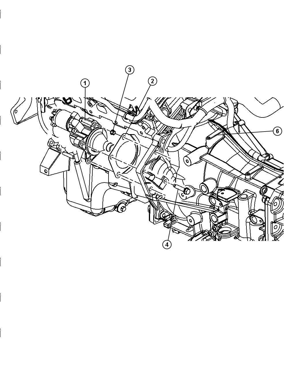 2008 Dodge Magnum Bracket. Wiring. Starter wiring. Engine