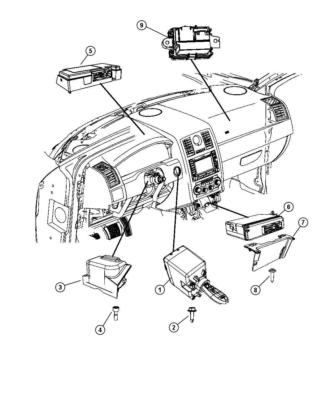 2008 Chrysler 300 Module. Steering control. [sau], [tilt