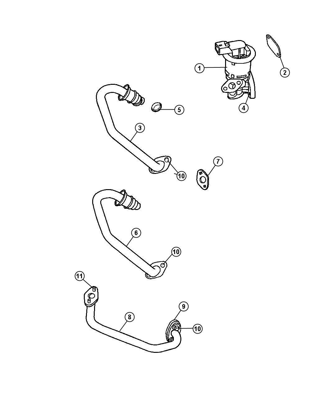 Dodge Charger Tube. Egr valve to intake plenum