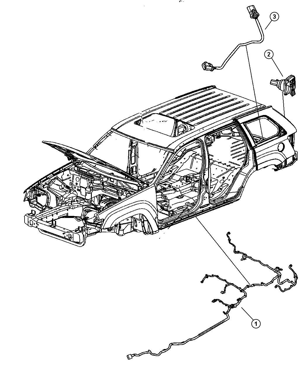 2008 Jeep Grand Cherokee Wiring. Underbody. Xgm, tow, dhx