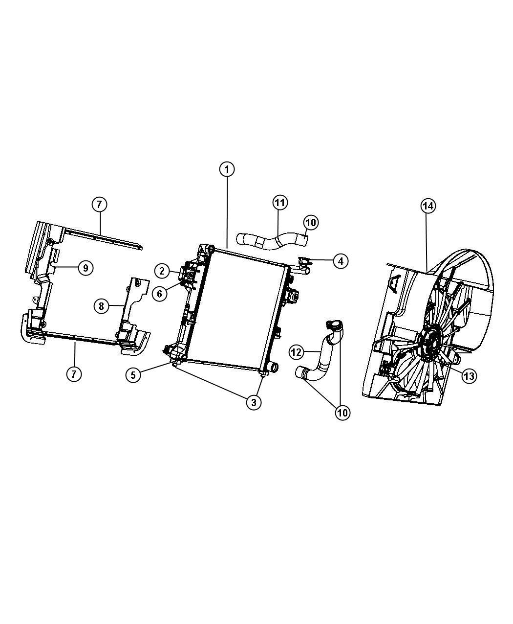 2008 Jeep Commander Fan module. Radiator cooling