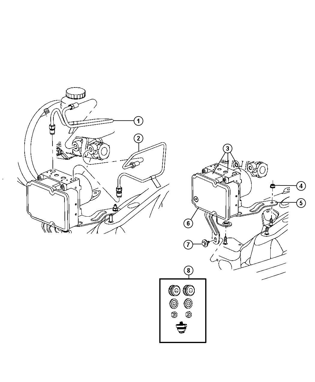 Jeep Liberty Module. Anti-lock brake system. Tubes