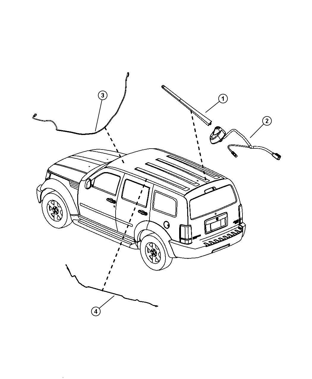 2008 Dodge Avenger Mast. Antenna. [rdb]. Radio, speakers