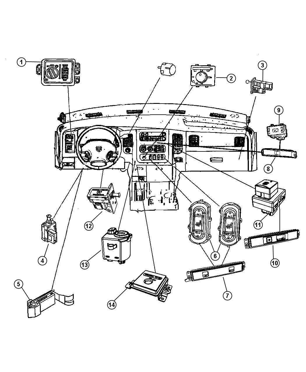 2008 Dodge Ram 5500 Bezel. Switch. Trim: [all trim codes