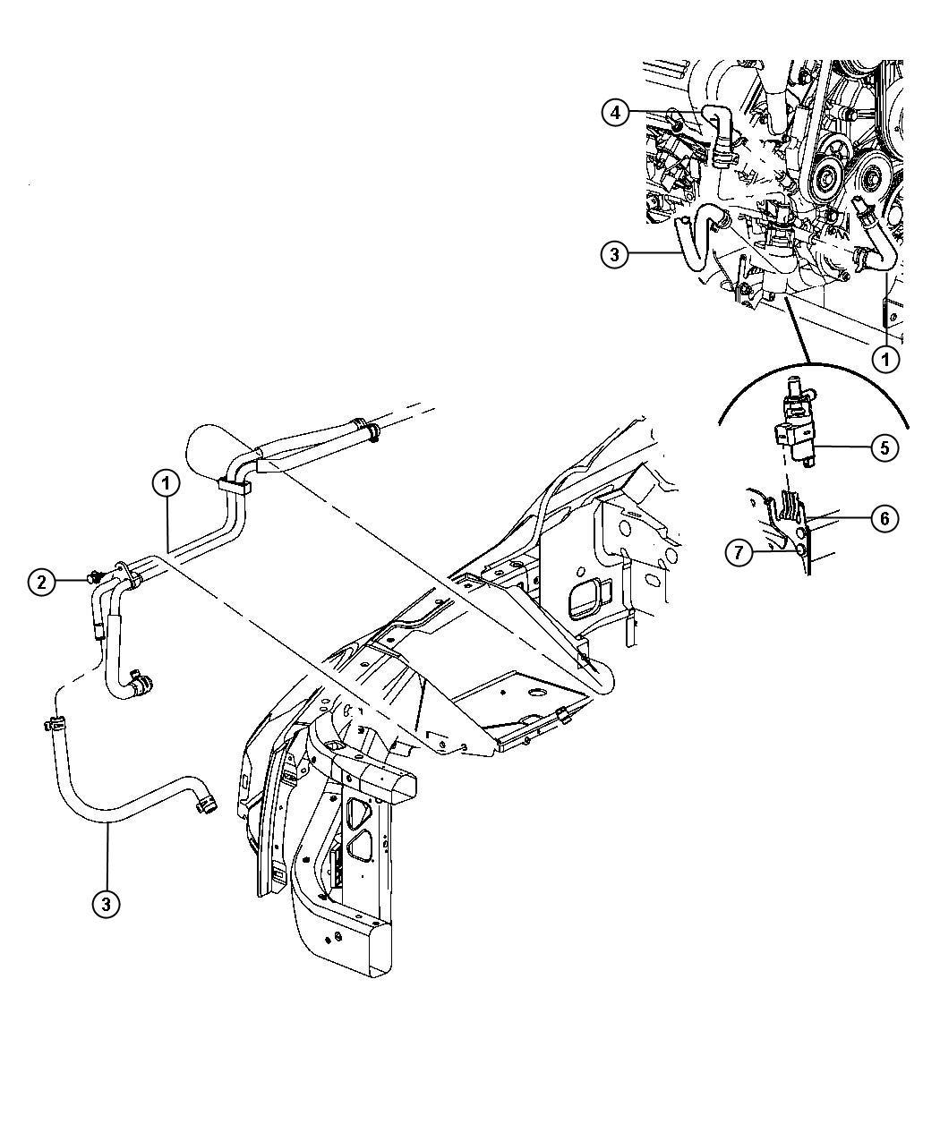 Chrysler Aspen Hose Heater Supply And Return With