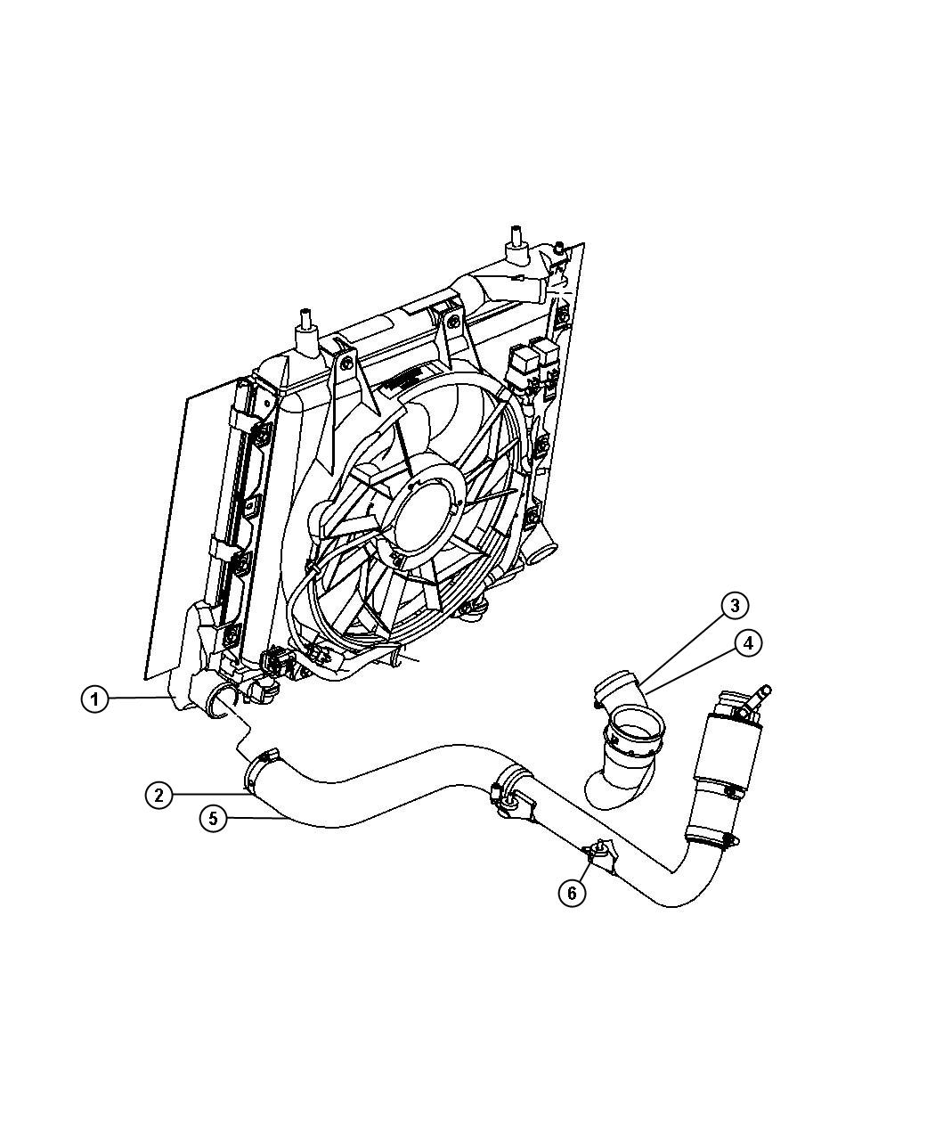 2009 Dodge NITRO Hose. Intercooler outlet. Includes clamp